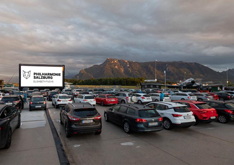 Autokonzert mit der Philharmonie Salzburg in Salzburgs erstem Autokino am 2. Juli 2020